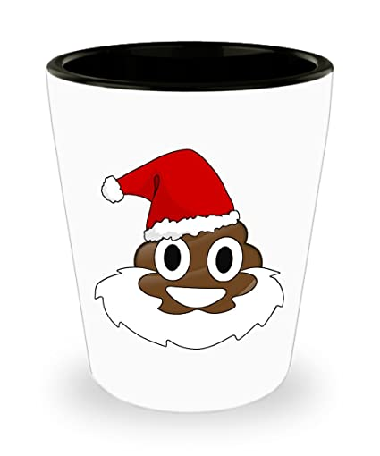 santa poop emoji ceramic shot glass christmas poop emoticon shooter glass - Christmas Poop