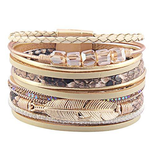 RONLLNA Tree of Life Leather Cuff Bracelet Wrap Bangle Boho Bracelets with Pearl for Women Teen Girl Boy Gifts (Brown Cuff Bracelet) (Beige ()