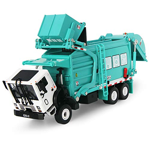 FUBARBAR Garbage Truck Toy Model 1:43 Scale Metal Diecast Recycling Clean Trash Garbage Rubbish Waste Transport Truck Alloy Model Car Toy with Garbage Cans Kids Birthday Party Supplies(Blue)