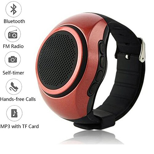Fm Watch Cell Phone - Bluetooth Watch Speaker Portable Music Speakers Handsfree Call Wristwatch Wireless Bluetooth Speaker Support TF Card FM Radio for Android Samsung Galaxy S8 S7 S6 S5 HTC LG Huawei Men Women Kids Red