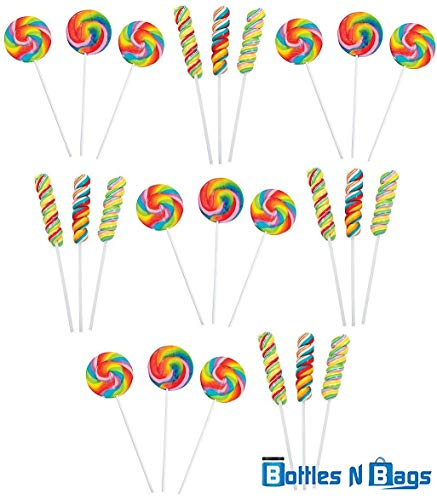 24 JUMBO Lollipops Rainbow Variety pack (Large Swirl Suckers and Candy Twisty Pops), Perfect for Birthday Parties and Summer Vacation (24) ()