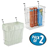 mDesign Hanging Over Door Kitchen Storage Organizer Basket/Trash Can - Hangs Over Cabinet Doors - Pack of 2, Solid Steel Wire Chrome Finish