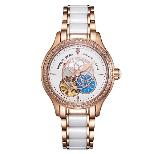 PRINCE GERA Women Luxury Gold Two-tone Ceramic Watch for Ladies Waterproof Automatic Diamonds Dress Watch (Tone Womens Watch Luxury Two)