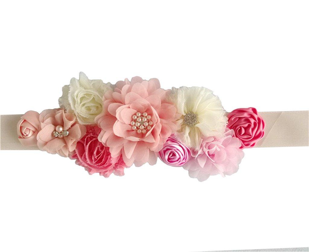 Maternity Satin Ribbon Belt with Flower for Photo Shoot, Floral Baby Shower/Bridal Sash/Wedding Belt, Flower Baby Girls Sash (Coral)