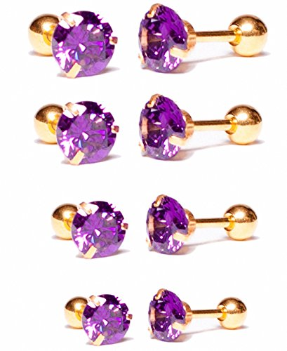 Sobly Jewelry 4 Pairs WomensStainless Steel Cubic Zirconia CZ Pave Crystal Cartilage Helix Tragus Barbell Stud Earrings (Gold-Purple) - Gold Purple Pearl Earrings