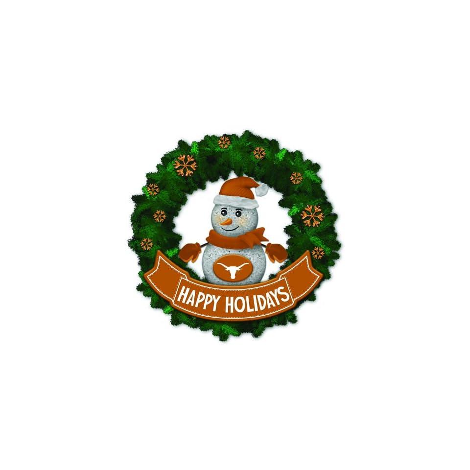 15 NCAA Texas Longhorns Lighted Snowman Artificial Christmas Wreath