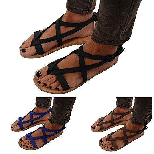 Bajos Sandalias Mujer Zapatos Bohemia Planas Verano De Marrn Minetom Cuero Gladiador Casuales 5IASqwq