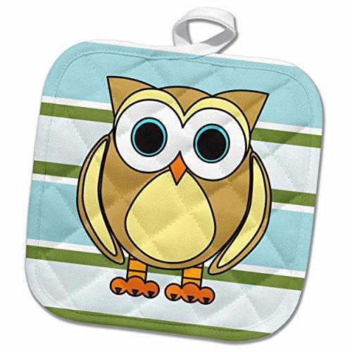 Woodland Pot Holder - 3dRose Janna Salak Designs Woodland Creatures - Cute Owl Blue Green Stripe - 8x8 Potholder (phl_28538_1)