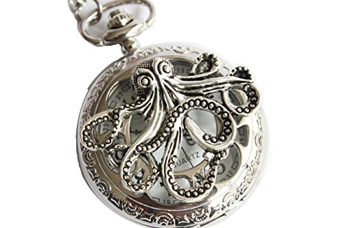 Ancient Silver Octopus Silver Pocket Watch , Cute Big Octopus Pocket Watch Necklace Mens Jewelry