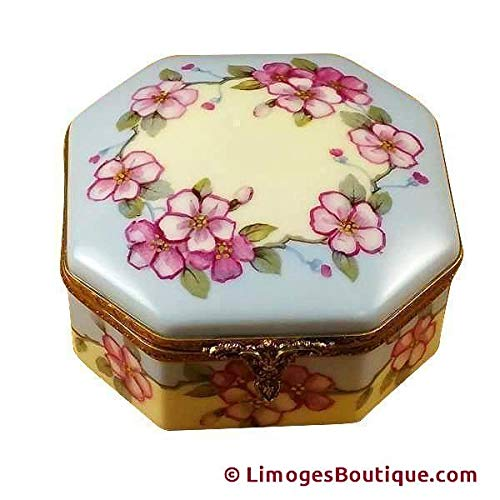 STUDIO COLLECTION - OCTAGONAL BOX PINK FLOWERS - SISTERS W/RABBIT - LIMOGES BOX AUTHENTIC PORCELAIN FIGURINE FROM FRANCE