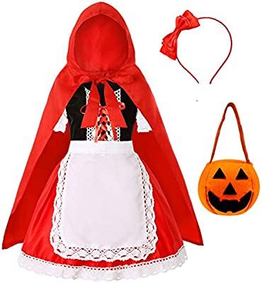 Little Red Riding Hood Costume Apron for Girl and Woman Dress up Party Dress