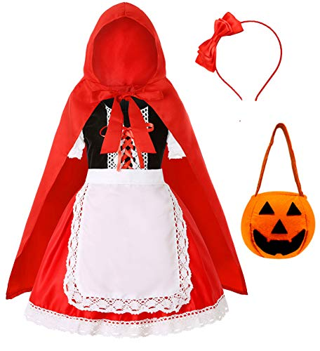 Little Red Riding Hood Halloween Outfit (Simplecc Little Red Riding Hood Costume for Girls Halloween Costume Party Dress 3-10 Years (Red Riding Hood, 7-8)