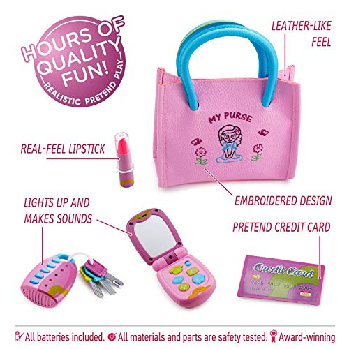 Playkidz Princess My First 8 Pieces Kids Purse Pretend Play Toy Set with Cool Girl Accessories Includes Phone and Bag with Lights and Sound