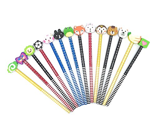 Gennilo Pack of 40 Pencils with Erasers Colorful Novelty Cartoon Animals' Stripe Eraser Wood Pencils (7.28'') for Students & Children Gift (40pcs cartoon pencil with eraser), Animals Assorted by Gennilo