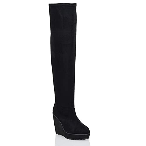 5a2f4d43e8b ESSEX GLAM Ladies Over The Knee HIGH Platform Wedge Heel Womens Stretch  Thigh HIGH Boots