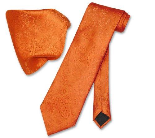 Set Necktie Handkerchief - Vesuvio Napoli Burnt Orange PAISLEY NeckTie & Handkerchief Matching Neck Tie Set