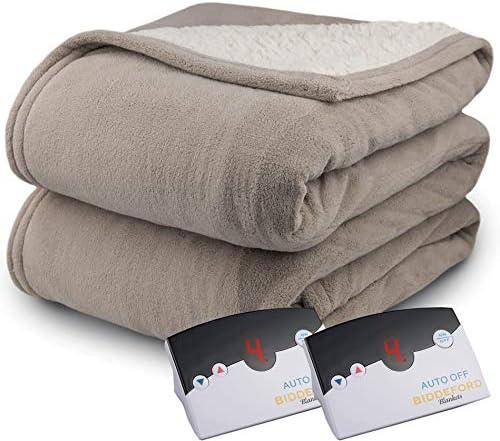 Amazon Com Biddeford 2064 9052140 700 Microplush Sherpa Electric Heated Blanket King Taupe Home Kitchen