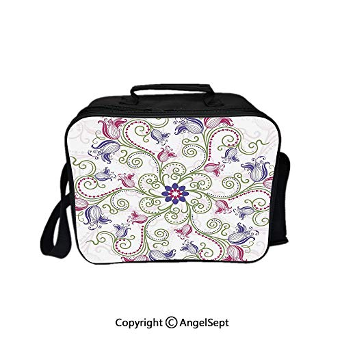 Reusable Lunch Bag With Adjustable Shoulder Strap,Round Flower Frame Design Classical Vintage Floral Art with Ottoman Tulips Decorative Purple Green White 8.3inch,Office Work Picnic Hiking Beach Lunc