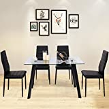 leather dining room set luxury modern tangkula pcs dining table set modern tempered glass top and pvc leather chair w amazoncom sets kitchen room