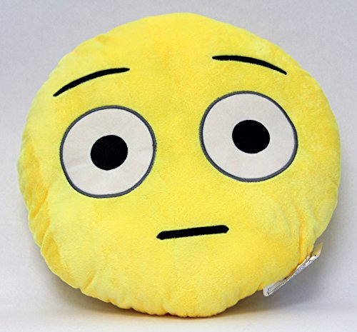 Emoji Wide Eyes Yellow Round Pillow
