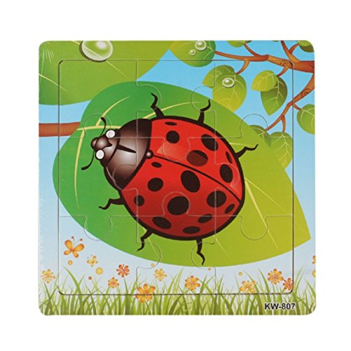 Ikevan 1Set Hot Selling 9 pieces of Wooden Cute Animal Jigsaw Puzzle Educational toys for Kids Baby 1-3 Years Old (Ladybug)