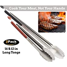 Cooking Tongs for Kitchen Grill BBQ - Best Tongs for Cooking Food In The Sizes You Need - Long Locking Stainless Steel Tongs for Grilling and Barbecue - Cook Your Meat, Not Your Hands
