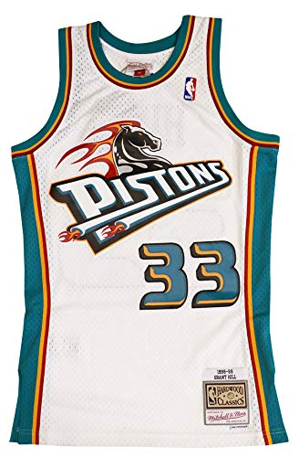 - Mitchell & Ness Detroit Pistons Grant Hill 1998 Throwback Swingman Jersey White (Large)