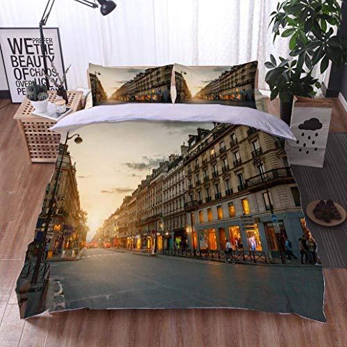 VROSELV-HOME 3 PCS King Size Comforter Set,Rue de Rivoli Paris France,Soft,Breathable,Hypoallergenic,Decorative 3 Piece Bedding Set with 2 Pillow Sham ()