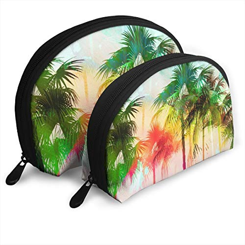 Taslilye Tropical Island Scenic with Distressed Rainbow Coloring Portable Clutch Bag Shell Shape Large One for Ladies Cosmetics Storage