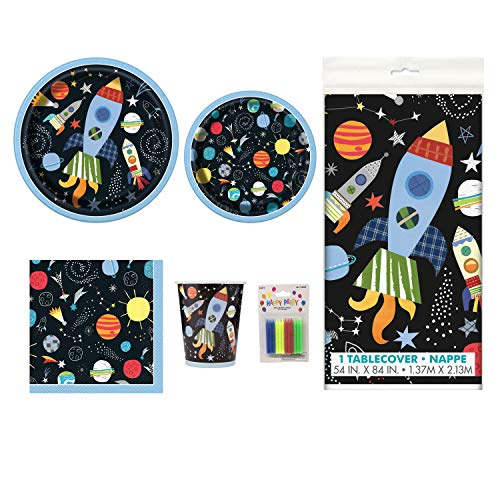(Outer Space Birthday Deluxe Party Pack Serves 16 Plates Cups Napkins & Tablecloth)