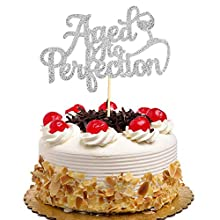 Aged to Perfection Cake Topper for Birthday Wedding Engagement Party Decorations - Silver Glitter