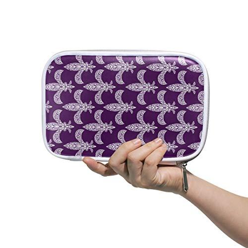 Mardi Gras Fleur De LYS Pattern Pencil Case Holder Slot - Zipper Closure - Large Capacity Pen Organizer Portable Cosmetic Case