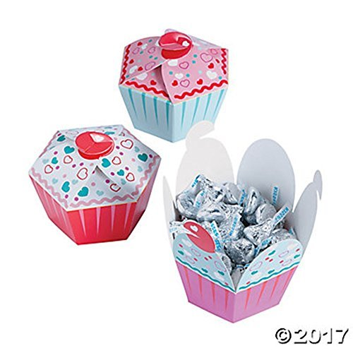 Set of 12 Cupcake Shaped Party Favor Boxes w Hearts Valentine's -