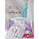 DecoMood Princess Mermaid - 100% Cotton Nursery Crib Set Girls, 6 Pieces Baby Comforter/Quilt Set Crib Bumper, Comforter, Crib Sheet, Pillowcases