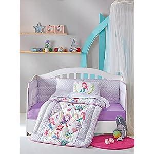 DecoMood Princess Mermaid - 100% Cotton Nursery Crib Set for Girls, 6 Pieces Baby Comforter/Quilt Set with Crib Bumper, Comforter, Crib Sheet, Pillowcases