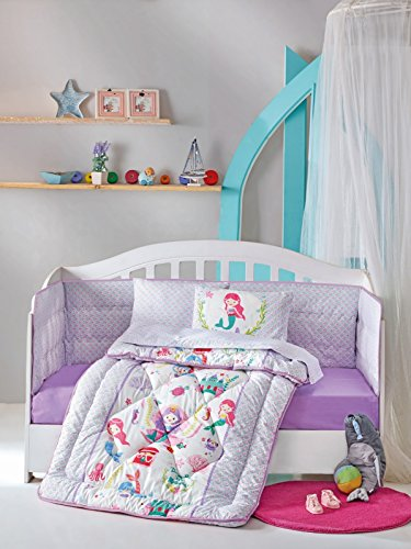 DecoMood Princess Mermaid - 100% Cotton Nursery Crib Set for Girls, 6 Pieces Baby Comforter/Quilt Set with Crib Bumper, Comforter, Crib Sheet, Pillowcases