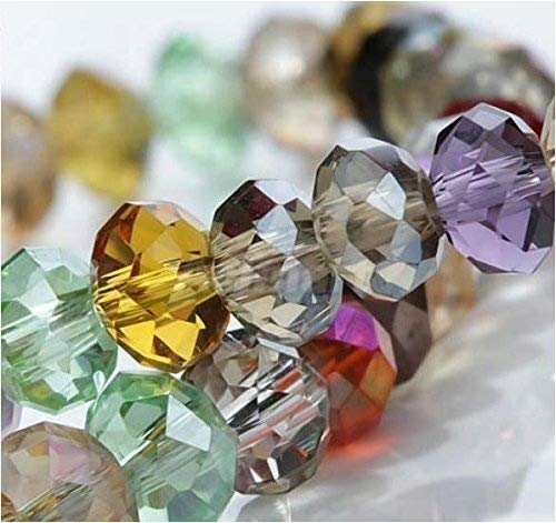 (HYBEADS 100per Assorted Top AAA Quality 5040 Assorted Crystal Beads 4mm 6mm 8mm 10mm Faced Glass Beads Crystal Rondelles Bead (6mm))