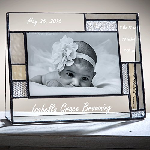 J Devlin Pic 392-46H EP530 Personalized Baby Frame Engraved Glass Photo Frame Keepsake Gift 4x6 Horizontal - Engraved Glass Picture Frame