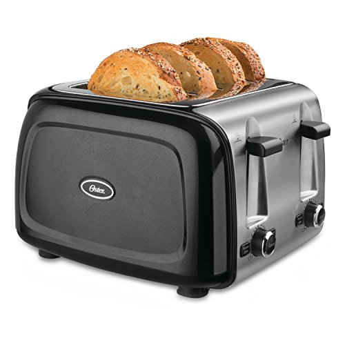 Oster TSSTTRPMB4 4-Slice Toaster, Metallic Black