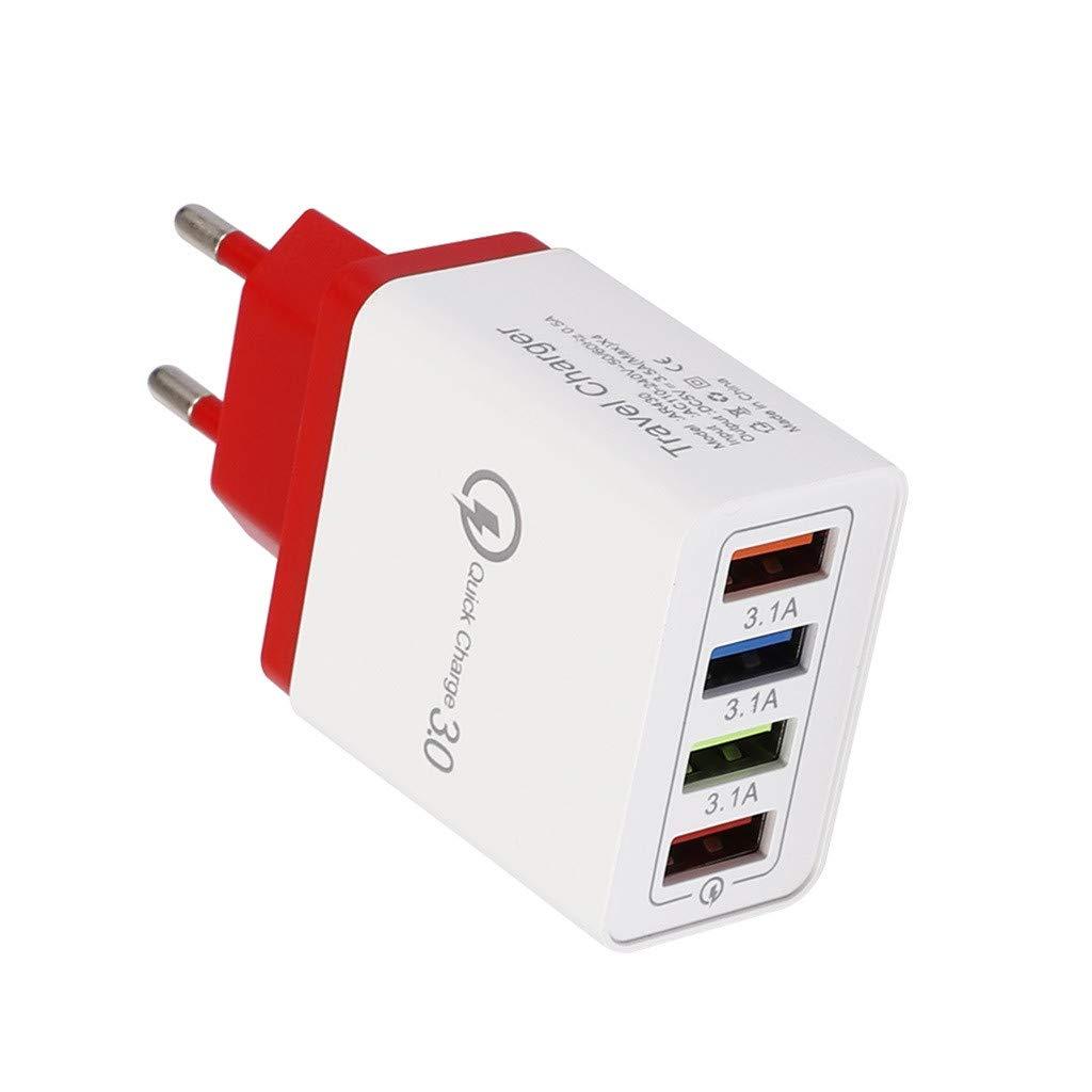 Noir Fulltime/QC 3.0 USB Hub Chargeur mural 3.5A Adaptateur secteur EU Plug 4 ports Rapide Chargeur