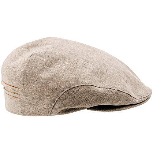 (Sterkowski 100% Linen Summer Ivy League Flat Cap 7 1/2 Beige)