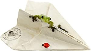 Top Collection Miniature Fairy Garden and Terrarium Sealed with Love Frog on Paper Plane Statue