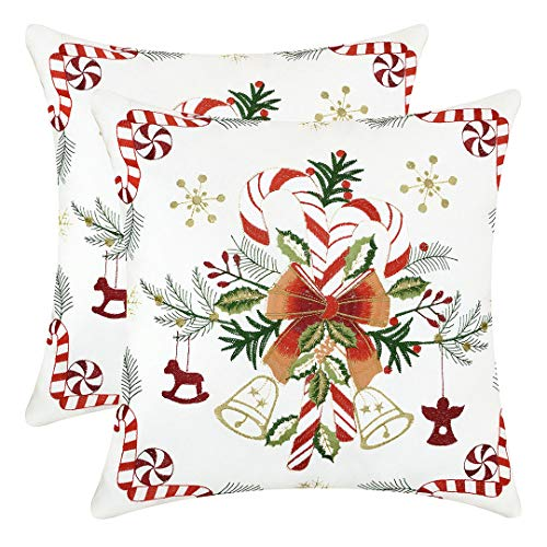 Grelucgo Christmas Throw Pillow Case Cover, Embroidered Christmas Candy Canes Design, Square 16x16 Inches, Set of -