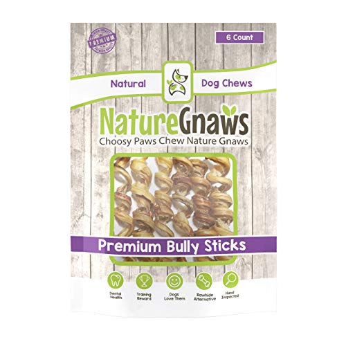 Nature Gnaws Bully Springs 7-8 Inch (6 Pack) - 100% All Natural Grass-Fed Free-Range Premium Beef Dog Chews