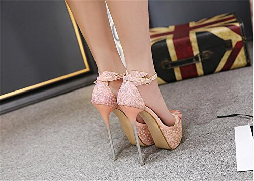 size shoes there heel sandals buckle party double ladies strap Womens stiletto barely Pink high wUB7P