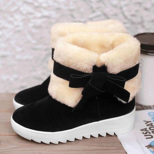 Women Boots,FeiXiang Women's Boots Bowknot Autumn Winter Boots Warm Ankle Boots Warm Winter Shoes (3UK, Khaki) Black