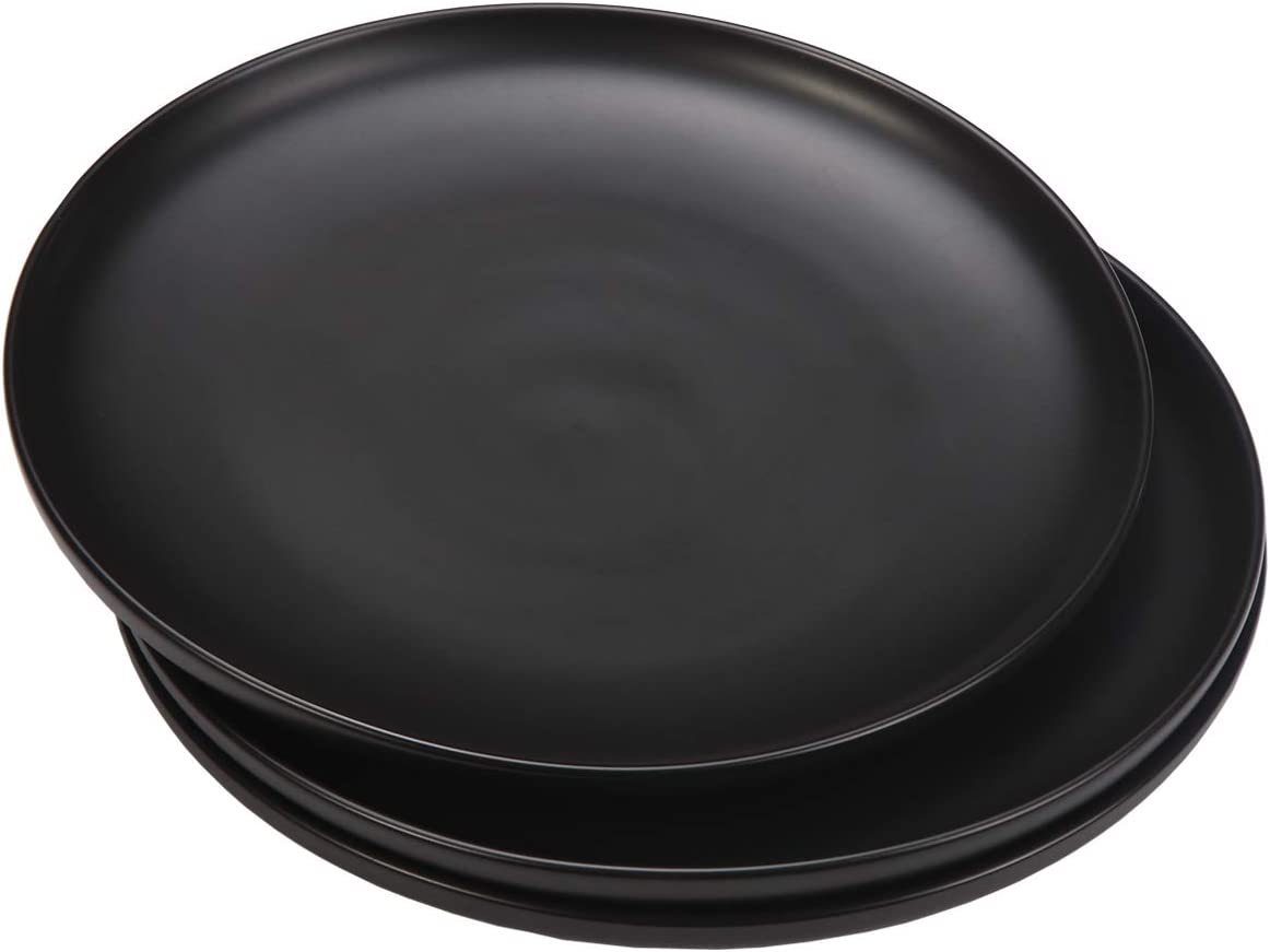 Monamour 10 Inch Matte Porcelain Dinner Plate, Elegant Round Ceramic Serving Plate for Steak, Salad, Pasta, Pizza, Set of 3 (Black)