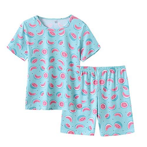 MyFav Cotton Sleepwears Cute Pajamas Short Sleeves Print Nightwears for Girls Size 8-14 Years