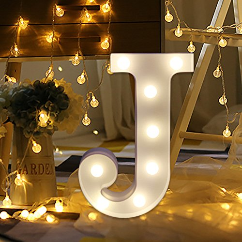 Gotian Alphabet Letter Lights LED Light Up White Plastic Letters Standing Hanging A-M & DIY Romantic Night Party Holiday Birthday Wall Hanging Home Wedding Decor (J) ()