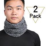 Qinglonglin 2 Pack Neck Warmer Gaiter - Polar Fleece Ski Face Mask Cover